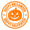 Happy halloween stamp isolated on white Stock Images