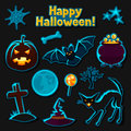 Happy halloween sticker set with characters and Royalty Free Stock Photo