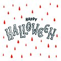 Happy Halloween text banner. handwritten letters of bones. Happy halloween inscription on white background with red Royalty Free Stock Photo