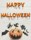 Happy halloween text flat lay. jack lantern pumpkin with witch g