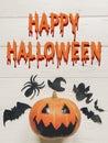 Happy halloween text. jack lantern pumpkin with witch ghost bats