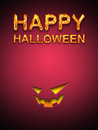 Happy halloween text with jack o lantern symbol on red background Royalty Free Stock Image