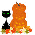 Happy halloween theme greeting card vector illustration Royalty Free Stock Image
