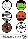 Happy halloween time illustration cute monster face Royalty Free Stock Photos