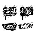 Happy Halloween, Trick or treat, boo isolated quote design elements. Vector holiday illustration.