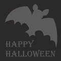 Happy halloween vector card with bat and wishes party hand drawn Royalty Free Stock Photo