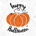 Happy Halloween vector lettering. Holiday calligraphy with spider web and pumpkin