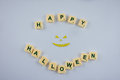 Happy Halloween wishes with demon face Royalty Free Stock Photo