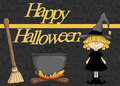 Happy Halloween Witch, Cauldron and Broom Stock Image