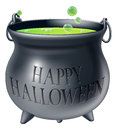 Happy halloween witch cauldron cartoon s with green bubbling s brew in it and a message reading Royalty Free Stock Photos