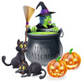 Happy halloween witch and cauldron an illustration of a cartoon with cats pumpkins bubbling filled with green s brew Stock Images