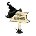 Happy halloween witch hat on a white background Stock Photography