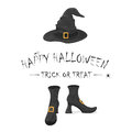 Happy Halloween with witches shoes and hat