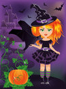 Happy halloween young witch with a bat illustration Stock Photos