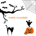 Happy hallowen card halloween spiderweb background Royalty Free Stock Photo