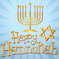 Happy hannukah illustration of a menorah and the star of david with custom designed text Stock Photos