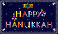 Happy hanukkah banner with menorah and dreidels eps Royalty Free Stock Photos