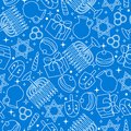 Happy Hanukkah celebration seamless pattern with holiday objects Royalty Free Stock Photo