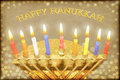 Happy hanukkah greeting card menorah with burning candles with the inscription Stock Photo