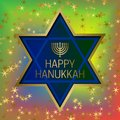 Happy Hanukkah greeting card template on colorful blended background with glittering stars and star of David frame Royalty Free Stock Photo