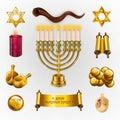 Happy Hanukkah greeting card with Torah, menorah and dreidels Royalty Free Stock Photo