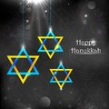 Happy hanukkah illustration of background with hanging star of david Stock Photography