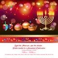 Happy Hanukkah greeting card, menorah, chanuka, dreidel, hanuka background Royalty Free Stock Photo