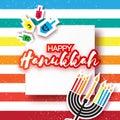 Happy hanukkah with menorah and burning candles, dreidels Royalty Free Stock Photo