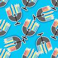 Happy Hanukkah seamless pattern with Menorah