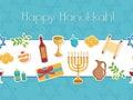 Happy Hanukkah seamless poster. Happy Hanukkah greeting card, flyer