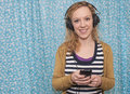 Happy headphone music girl Royalty Free Stock Photo