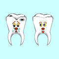 Happy healthy and sad sick teeth funny cartoon il illustration vector art Royalty Free Stock Photos