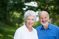 Happy healthy senior couple enjoying a day outdoors in the sunshine standing close together smiling at the camera against greenery Royalty Free Stock Photos