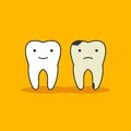 Happy healthy tooth and unhealthy bad tooth with face icon on background. Health, medical or doctor children