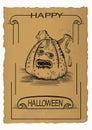 Happy helloween design jack o lantern on old paper Stock Photo
