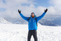 Happy hiker enjoy life and beautiful landscape in winter mountai Royalty Free Stock Photo