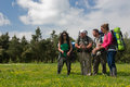 Happy hiking group a of hikers enjoying a sunny day Royalty Free Stock Photos