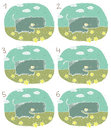 Happy hippo visual game children illustration eps mode task find two identical images match pair answer no Stock Photo