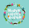 Happy hipster easter colorful wreath with eggs and mustaches greeting card background eps vector file organized in layers for easy Stock Photos