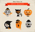Happy hipster halloween set of icons and elements Royalty Free Stock Photo