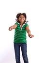 Happy Hispanic little girl isolated on white. Royalty Free Stock Photo