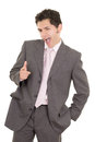 Happy hispanic young business man with thumbs up gesture this image has attached release Stock Photo