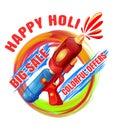 Happy Holi. Big Sale. Colorful offers. Best Holi pichkari guns g Royalty Free Stock Photo