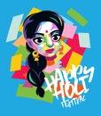 Happy Holi vector graphic card design