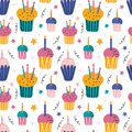 Happy holiday cream cake with candles flat vector seamless pattern. Sweet holiday pastries, muffin, cupcake with