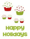 Happy holiday cupcakes red and green polka dot illustrated in various sizes with the words holidays along the bottom to be used in Stock Photography
