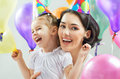 Happy holiday daughter and mother are together Stock Photography