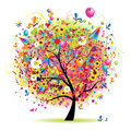 Happy holiday, funny tree with baloons Royalty Free Stock Images