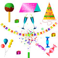 Happy holiday with a lot of decorations and gifts an invitation to the celebration fireworks Stock Photography
