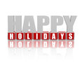 Happy holidays in 3d letters and cubes Stock Photography